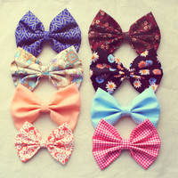 Set of 4 Spring Bows - barette/hair tie