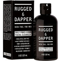 Daily Power Scrub Facial Cleanser For Men - 8 OZ - Face Wash + Energizing Toner + Exfoliating Scrub All-In-One - Natural & Certified Organic Ingredients