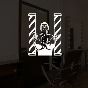Vinyl Wall Decal Barber Hair Stylist Barber Shop Salon Hairdresser Stickers Mural Unique Gift (ig5234)