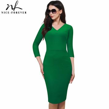 Nice-forever Vintage Deep V-Neck Bodycon Wear to Work Pencil Dress Elegant 3/4 sleeve Brief Formal Business Women Dress 683