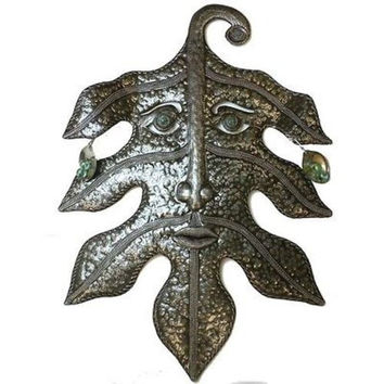 Recycled Steel Drum Art - Green Man Design - Croix des Bouquets
