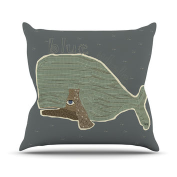"Bri Buckley ""Blue Whale"" Blue Green Throw Pillow"
