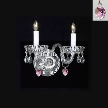 Swarovski Crystal Trimmed Chandelier! Murano Venetian Style Crystal Wall Sconce Lighting With Pink Hearts! - Perfect For Kid'S And Girls Bedroom! - A46-B21/2/386 Sw