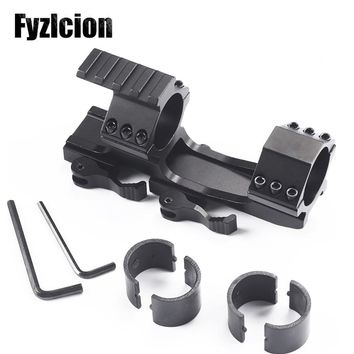 """Tactical QD Quick Release Scope Mount 1"""" 25mm/30mm Dual Ring Cantilever Heavy Duty Rail 20mm Weaver Base for Hunting Riflescope"""