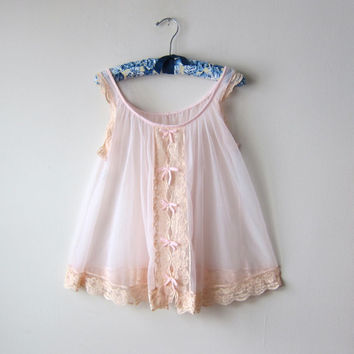 Pastel Pink Chiffon & Cream Lace Short Babydoll Peignoir by Jenelle of California -- Pin Up Negligee! Bombshell Lingerie!