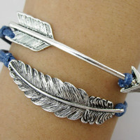 feather bracelet, Arrow  bracelet -Antique Silver Bracelet -Christmas gift -  Best Chosen Gift