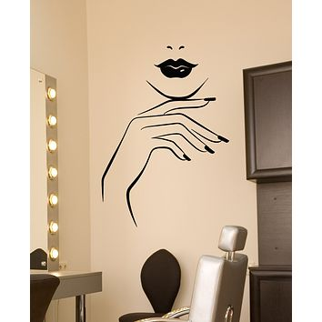 Vinyl Wall Decal Girl Lips Beauty Salon Manicure Nail Service Stickers (3436ig)