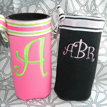 Personalized Embroidery Bottle Koozie  Monogram water bottle ribbon cozie koozie cozy