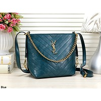 YSL tide brand female retro wavy shoulder bag Messenger bag Blue