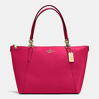 New Authentic COACH F57526 AVA Crossgrain Leather Tote Shoulder Bag Purse Bright Pink