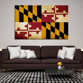 67643 - Maryland Flag Wall Art Canvas Print, Maryland State Flag Art Canvas Print, Large Wall Art Maryland Flag Canvas Print