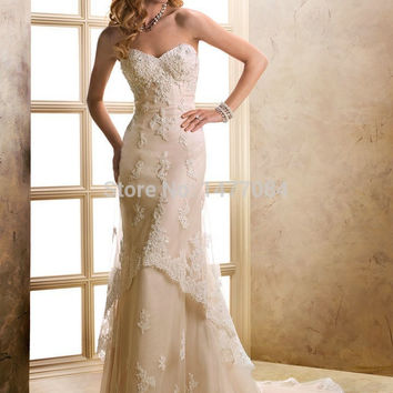 Sexy Court Train Sweetheart Champagne Tulle 2015 Lace Wedding Dresses Bridal Gowns Custom Made