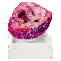 "Mini Pink Geode on 2"" Base, Acrylic / Lucite, Rocks, Crystals, Minerals & Petrified Wood"
