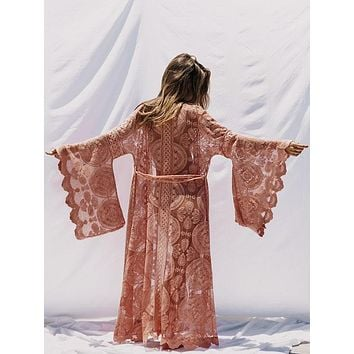 Mandala Mantra Kimono Boho Blush Pink Maxi Full Length Swimsuit Cover Up Or Robe With Bohemian Kimono Sleeves Sizes Small Medium Or Large