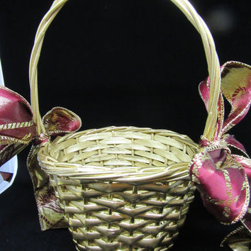 Unique One of a Kind Vintage Round Gold Flower Girl Basket-Burgandy and Gold Bow-Wedding-Gift-Storage-Home Decor-Cottage Chic-Country Decor