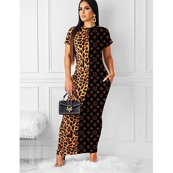 LV Louis Vuitton Fashion Women Sexy Leopard Letter Print Patchwork Short Sleeve Long Dress