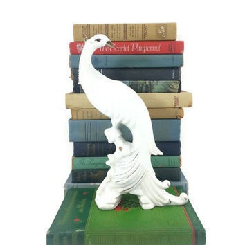 Vintage Peacock Figurine, Art Deco Home Decor, White Gold, Pheasant, Elegant, Bird Statute, Animal Figurine, Mid Century, Office Decor
