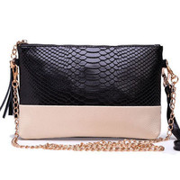 Genuine Leather Tassel Handbags 2016 Crocodile Shoulder Bags Messenger Bag Day Clutch Chain Bag Small Women's Clutches MU-923
