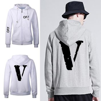 Thicken Hats Hoodies Hip-hop Tops Winter Alphabet Zippers Jacket [211447513100]
