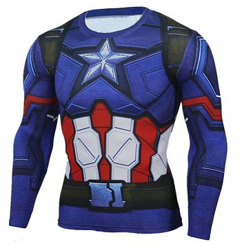 Captain America T Shirt Men 3D Iron man Printed Superhero T Shirts Fitness Compression Shirt Clothing Male Tops