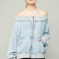Off The Shoulder Denim Jacket