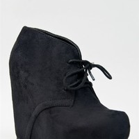 Soda PAGER Classic Basic Lace Up Hidden Platform Wedge High Heel Ankle Boot Bootie