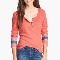 Love on a Hanger Embroidered Cuff Henley (Juniors) | Nordstrom