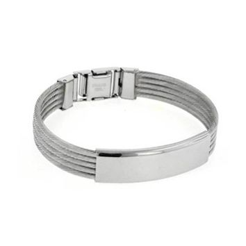 Identification Name Plated Cable ID Bangle Bracelet Stainless Steel