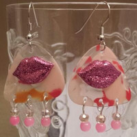 Guitar Pick Earrings by Betsy's Jewelry - Lips - Kiss - Fun Fashion