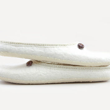 "Beluga"" White Felted wool slippers Handmade to Order"