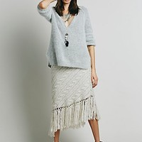 Free People Womens On a Diagonal Fringe Skirt