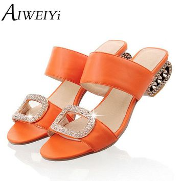 AIWEIYi Woman's Fashion Summer Shoes Thick Heels Flip Flops Gladiator Platform Sandals Rhinestone Slides Slippers Size 34-43