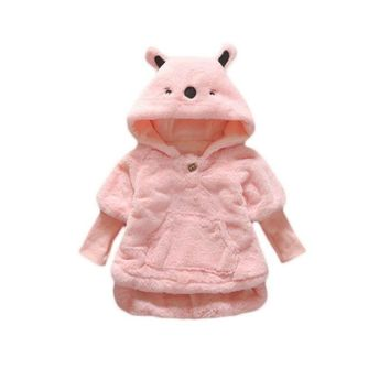 Baby Girls Long Sleeve Coat Warm Winter Bear Hoodie Button Jacket Knitted Sweater Hooded Snowsuit Thick Coats