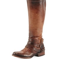 Irish Triple-Buckle Distressed Knee Boot, Cognac