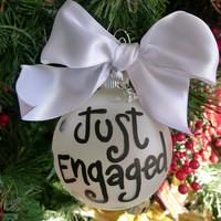 Just Engaged ornament, engagement ring charm, Just engaged, christmas ornament