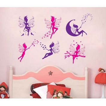 Flower Angel Fairy Cute Art Wall Stickers Decal Room Kids Girl Nursery Decor children room decal