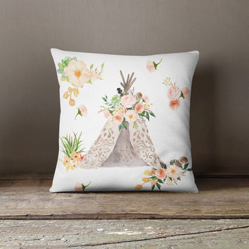 Floral Aztec Teepee Throw Pillow