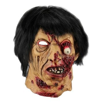 Halloween Cosplay Mask Horrific Mask Creepy Terrifying Black Hair Zombie Ghost Mask