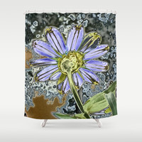 Purple Glow Daisy  Shower Curtain by KCavender Designs