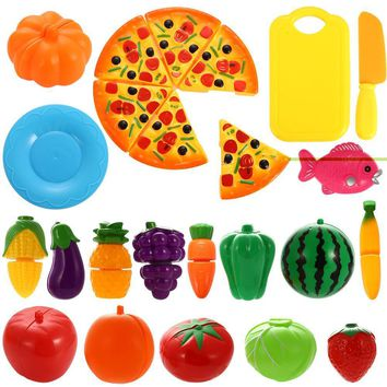 24PCS Plastic Cutting Fruits and Vegetables Set with Pizza Play Food Set for Pretend Play