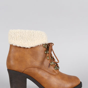 Faux Shearling Cuff Lace Up Heeled Ankle Boots