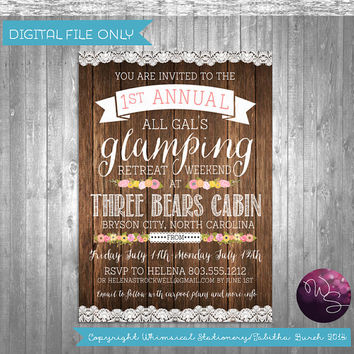 "Glamping Weekend Invitations ""Let's Go Glam-ping!"" Collection (Printable File Only) Rustic Girl's Weekend Cabin"