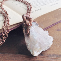 Medium Raw Quartz Geode Necklace