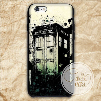 Tardis Police Box Grunge Design iPhone 4/4S, 5/5S, 5C Series Hard Plastic Case