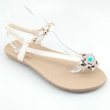 Women's Beige Floral Sandal with Elastic