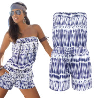 Off Shoulder Printed Romper  B0015293