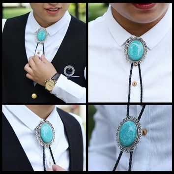 Men's Turquoise Needlepoint Bolo Tie Native American Jewelry Zuni Inlay Ties