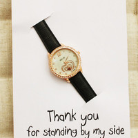 Thank You For Standing By My Side Black Band Heart face Love Woman Wristwatch Fashion Watch