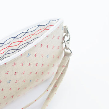 Nautical Bag, Zipper Pouch, Wristlet Phone Case, Linen Anchors, Navy, Red, and White
