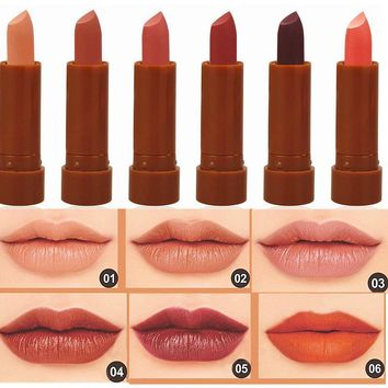 Red Lips Baton Frosted Waterproof Pigment Brown Naked Lipstick